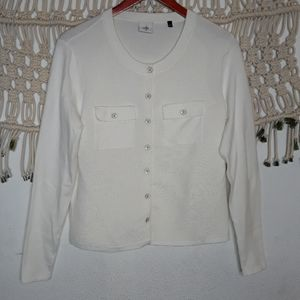 Cabi white ribbed knit button down cardigan